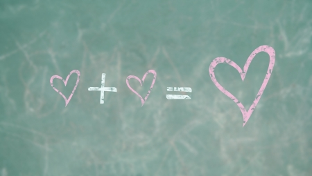Learning to love in a school class, conceptual image photo