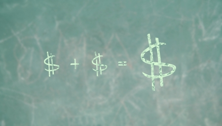 summation: Money plus dollars makes fortunes, conceptual image on an economy class blackboard