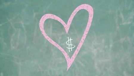 alumnos en clase: Prioridad del amor sobre d�lares, imagen conceptual de una pizarra de la escuela Foto de archivo