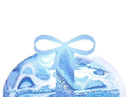 cian: Half cian blue crackle easter egg with ribbon over white Stock Photo