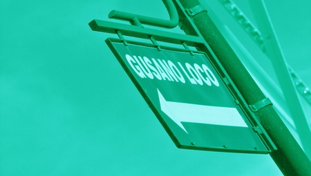 typographies: Turquoise street sign in perspective