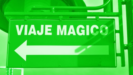 typographies: Magic trip direction sign in green