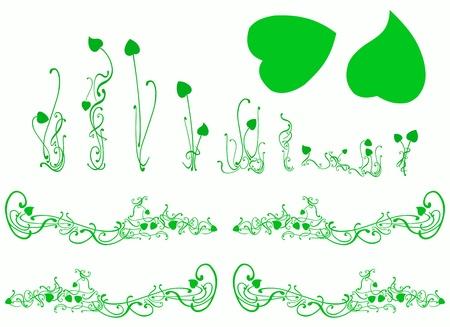 design design elemnt: Green lotus plants silhouettes isolated on white