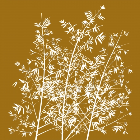 Golden brown background with white bamboo plants silhouettes photo