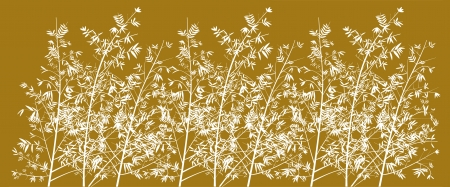 Golden background with elegant bamboo forest illustration silhouettes in white illustration