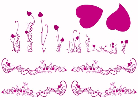 magenta: Pink purple lotus silhouettes set for design Stock Photo