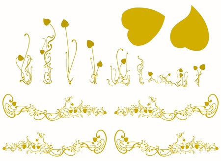 Golden lotus silhouettes illustration set of plants leaves and branches illustration