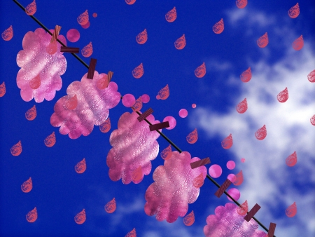 meteorology: Meteorology of love with pink clouds and emotional drops