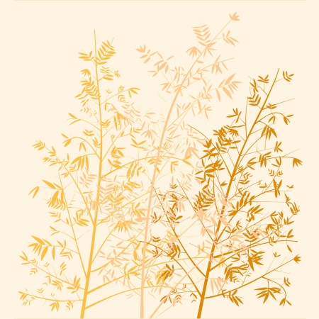 Golden bamboo trees beige background photo