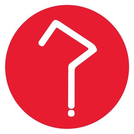 questionaire: C�rculo rojo con signo de interrogaci�n para el cuestionario