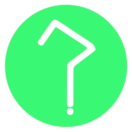 Bright green circle with white question mark photo