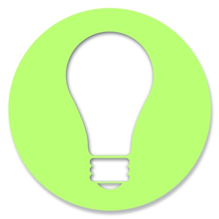 pale green: Pale green circle with light bulb illustration