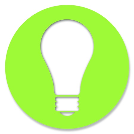 Idea icon in green circle with light bulb photo