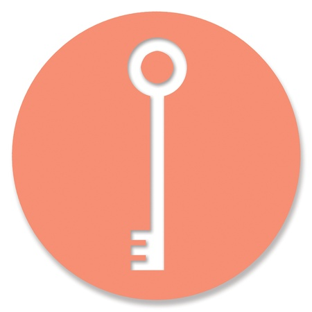 key hole shape: Orange circle with password key hole shape