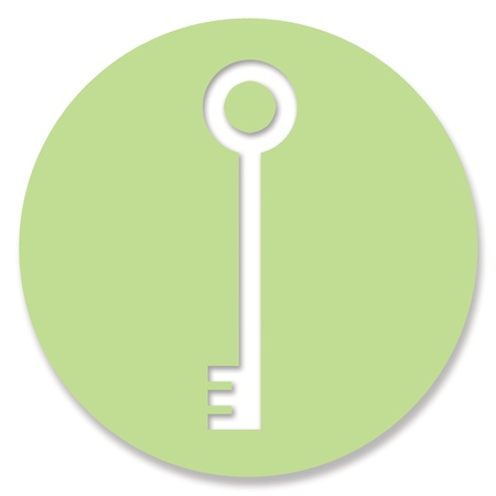 hole in one: Pale green paper with password key shape hole Stock Photo