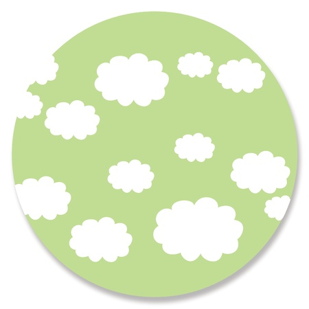 greenish: Pale green circle with clouds on white Stock Photo