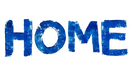 Home word in blue brushed letters typography on white photo