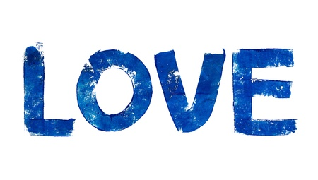 typographies: Love word in blue brush typography letters on white Stock Photo