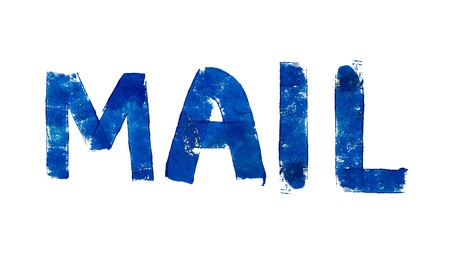 typographies: Postal mail word in blue brushed letters over white