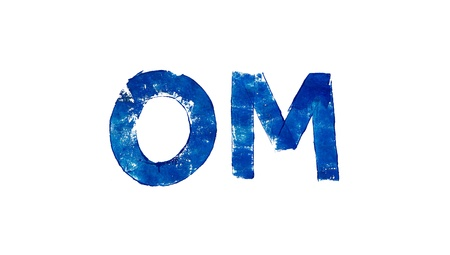 Om mantra blue painted isolated on white photo