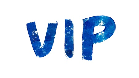 typographies: VIP initials in blue artistic typography on white