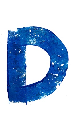 typographies: D blue letter in brush typography on white