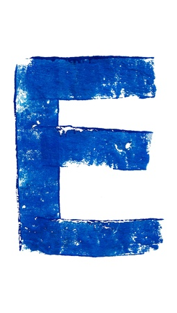 typographies: E vocal painted in blue isolated on white background