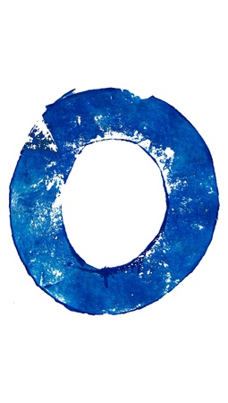 typographies: O letter in blue brush painting on white