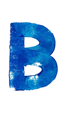 typographies: B consonant letter in blue painting over white