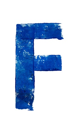 typographies: F alphabet letter in blue brushed typography on white
