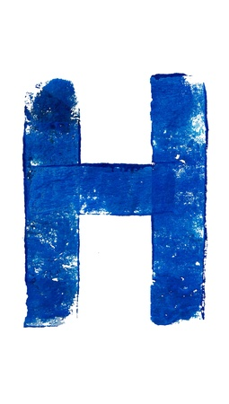 typographies: H symbol in blue brush typography over white