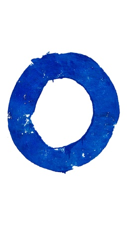 O letter painted in blue over white photo