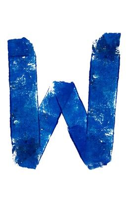 consonant: W consonant brushed in blue on white