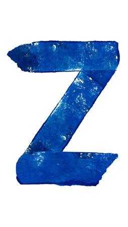 consonant: Z consonant in blue brush typography