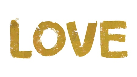 Gold love in art brushed on white background photo