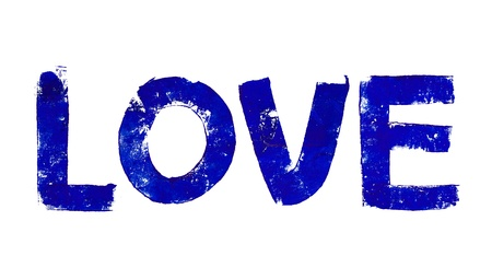 Indigo blue love word painted isolated on white photo