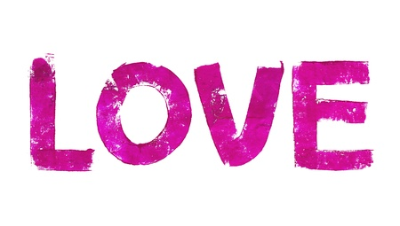 typographies: Pink love word letters with brush typography
