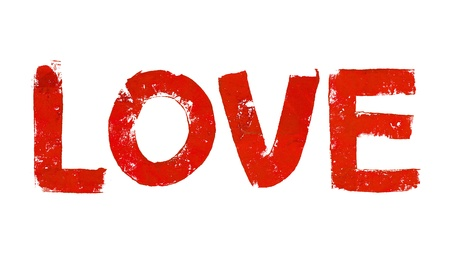 typographies: Passion love art word in brilliant red isolated on white