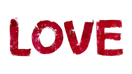 typographies: Red love word painted isolated on white background