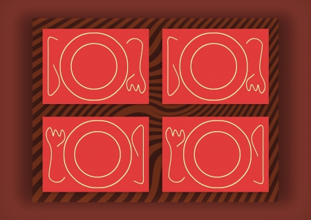 Red plates service from top view for dinner background photo