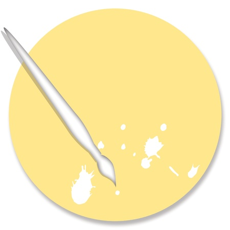 Painting objects in pale yellow over white photo