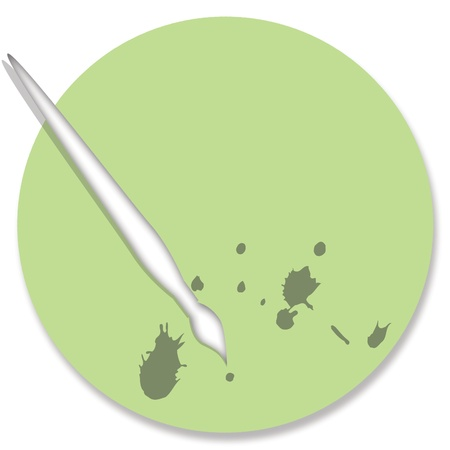 pale green: Pale green palette for painting with brush Stock Photo
