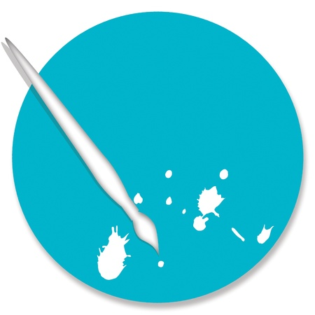 Turquoise blue circular background with brush and paint splash photo
