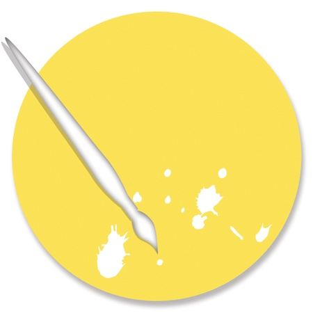 Yellow painting palette and brush photo