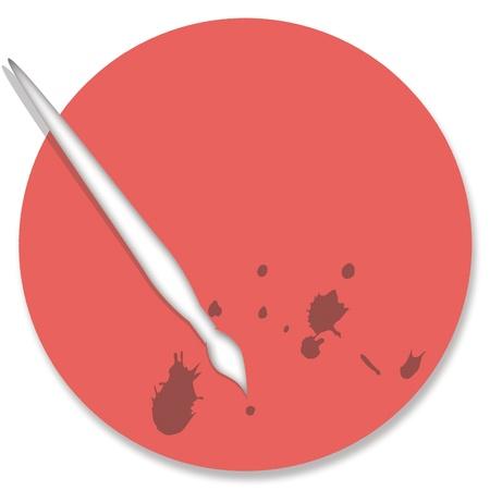 pinkish: Pinkish orange painter palette illustration with brush