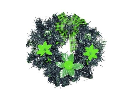 corona navidad: Verde circular corona de Navidad aislado en blanco
