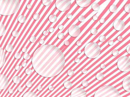 White circles of soap bubbles floating on pink striped background photo