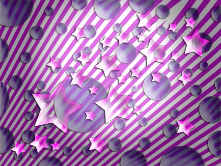 Fantasy stars lines and bubbles in pink and purple background photo