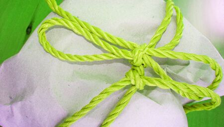 pack string: Light green eibbon on present pack close-up Stock Photo