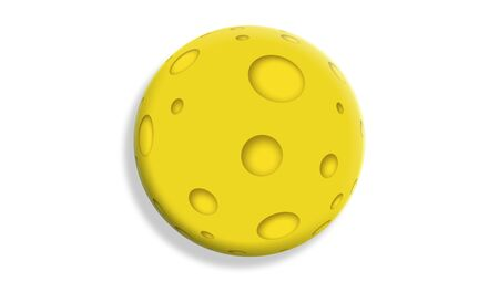 3D yellow cheese ball illustration on white illustration